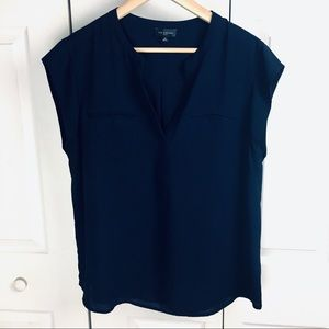 Navy The Limited Short Sleeve Blouse Front Pocket